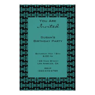 Aquamarines schwarzes Muster-Party Flyer