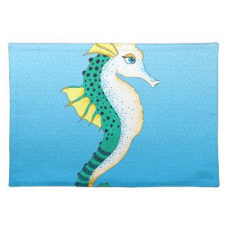 aquamarines Seepferdblau Stofftischset