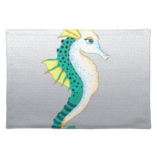 aquamarines Seepferdgrau Stofftischset