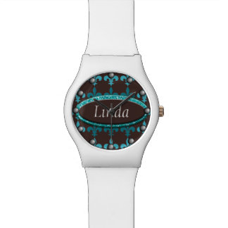 Aquamarines u. Brown-Winter-Lilien-Monogramm Armbanduhr
