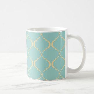 Aquamarines und gelbes marokkanisches Muster Kaffeetasse