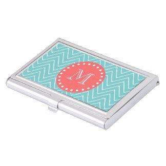 Aquamarines und korallenrotes Zickzack mit Visitenkarten Etui