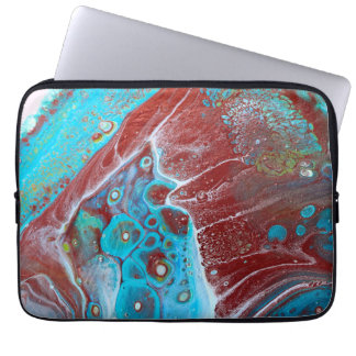 Aquamarines und kupfernes acrylsauerabstraktes laptop sleeve