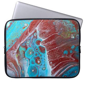 Aquamarines und kupfernes acrylsauerabstraktes laptopschutzhülle