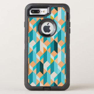 Aquamarines und orange Form-Muster OtterBox Defender iPhone 8 Plus/7 Plus Hülle