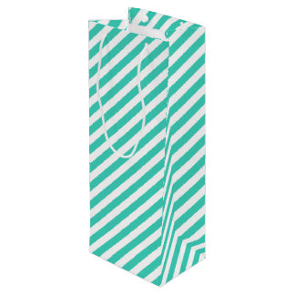 Aquamarines und weißes diagonales Streifen-Muster Geschenktüte Für Weinflaschen