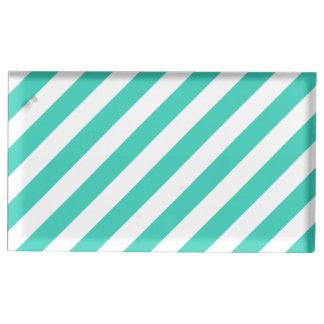 Aquamarines und weißes diagonales Streifen-Muster Tischnummernhalter