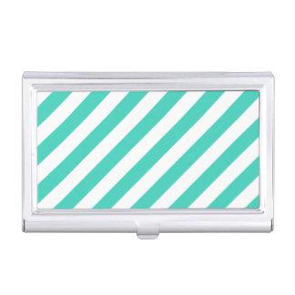 Aquamarines und weißes diagonales Streifen-Muster Visitenkarten Dose