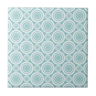 Aquamarines und weißes geometrisches Pastellmuster Fliese