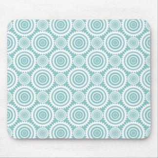 Aquamarines und weißes geometrisches Pastellmuster Mauspad
