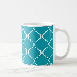 Aquamarines und weißes marokkanisches Muster Kaffeetasse