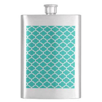 Aquamarines weißes Marokkaner Quatrefoil Taschenflasche