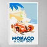 Aquarell 1937 Grandprix Monaco Poster