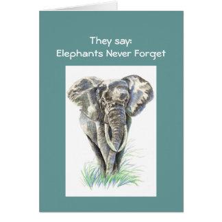 Aquarell-afrikanischer Elefant-Tiernatur-Kunst Karte