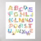 Aquarell-Alphabet-Tiere Poster