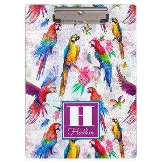 Aquarell-Art-Papageien | addieren Ihren Namen Klemmbrett