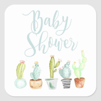 Aquarell-Babyparty des Kaktus-Garten-  Quadratischer Aufkleber