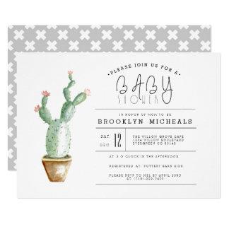 Aquarell-Babyparty des Kaktus-Pflanzer-| Karte