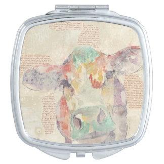 Aquarell-Bauernhof-Collagen-Kuh Schminkspiegel