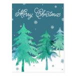 Aquarell-Baum-Weihnachtspostkarte Postkarten