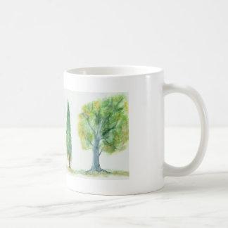 Aquarell-Bäume Kaffeetasse