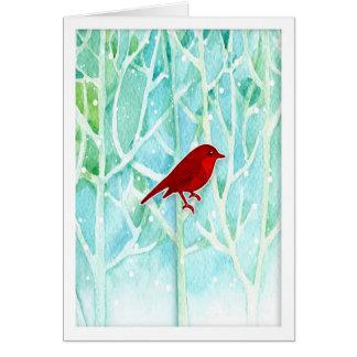 Aquarell-Bäume mit roter Vogel-Feiertags-Karte Karte