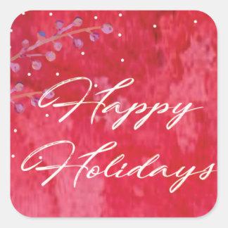 Aquarell-Beeren-frohe Feiertage Weihnachten Quadratischer Aufkleber