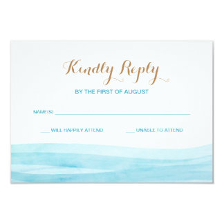 Aquarell bewegt Ozean-Strand-Hochzeits-Wartekarte Karte