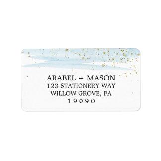 Aquarell-Blau-und Goldschein-Hochzeit Adressetikett