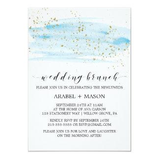 Aquarell-Blau und Goldschein-Hochzeits-Brunch Karte
