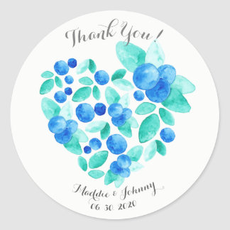Aquarell-Blaubeerherz-Muster danken Ihnen Runder Aufkleber