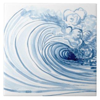 Aquarell-blaue Wellen-zeitgenössischer moderner Keramikfliese