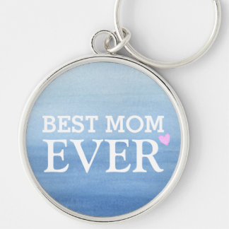 Aquarell-blaues Steigungs-Rosa-Herz-beste Mamma Schlüsselanhänger