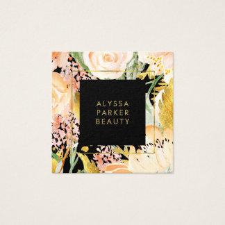Aquarell blüht | Gold und Pfirsich, die auf Quadratische Visitenkarte
