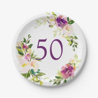 Aquarell-Blumen50. Geburtstag Pappteller