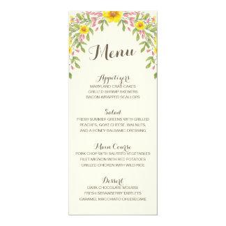 Aquarell-Blumen| rustikales Hochzeits-Menü 10,2 X 23,5 Cm Einladungskarte