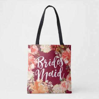 Aquarell-Blumenbrautjungfer Burgunder Tasche
