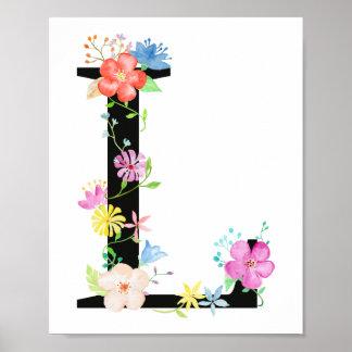 Aquarell-Blumenbuchstabe L Plakat