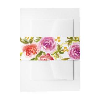 Aquarell-Blumenhochzeits-Einladungs-Bauch-Bänder Einladungsbanderole