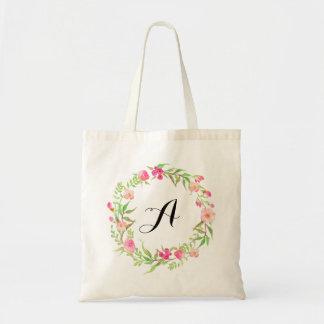 Aquarell-BlumenKranz-Hochzeits-Willkommen Tragetasche