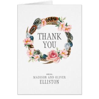 Aquarell-BlumenKranz mit Federn | danken Ihnen Karte