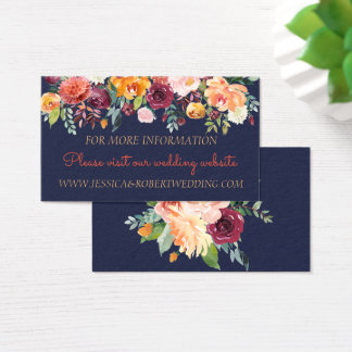 Aquarell-Blumenmarine-Blau-Hochzeits-Einzelkarte Visitenkarte
