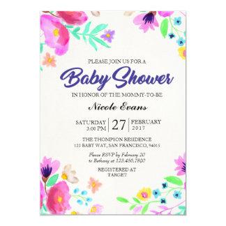 Aquarell-BlumenpastellBabypartyeinladung 12,7 X 17,8 Cm Einladungskarte