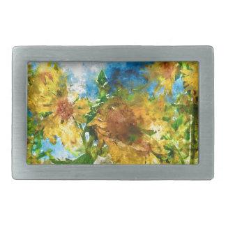 Aquarell-Blumensonnenblumen Rechteckige Gürtelschnalle
