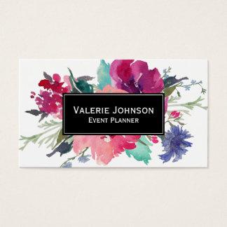 Aquarell-Blumenstrauß Visitenkarte
