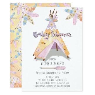 Aquarell Boho Stammes- Babypartyrustikaler Teepee 11,4 X 15,9 Cm Einladungskarte