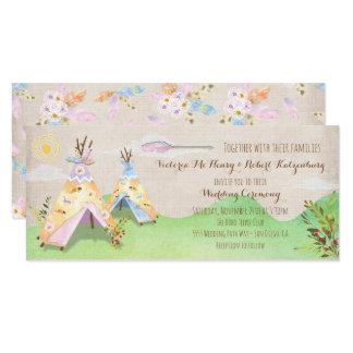 Aquarell Boho Stammes- Hochzeitrustikaler Teepee 10,2 X 23,5 Cm Einladungskarte