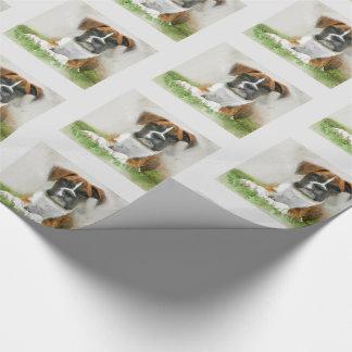 Aquarell-Boxer-Hündchen auf Gras Geschenkpapier