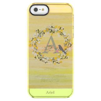Aquarell-Bürsten-Linien, Frühlings-Kranz-Monogramm Durchsichtige iPhone SE/5/5s Hülle