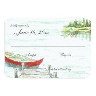 Aquarell-Canoe See-Hochzeits-Antwort 8,9 X 12,7 Cm Einladungskarte